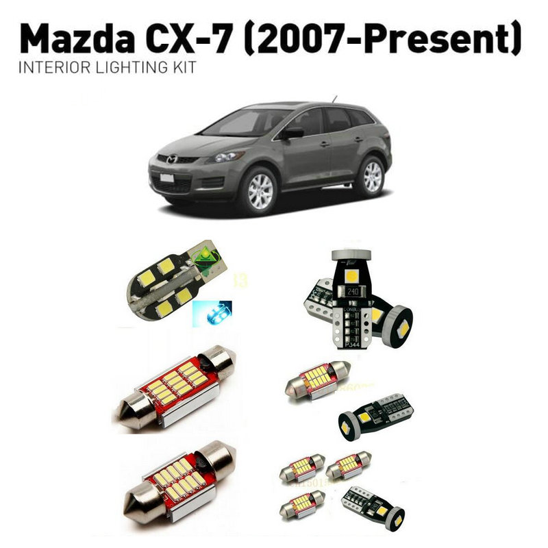 <font><b>Led</b></font> interior lights For <font><b>mazda</b></font> <font><b>cx7</b></font> 2007+ 7pc <font><b>Led</b></font> Lights For Cars lighting kit automotive bulbs Canbus image