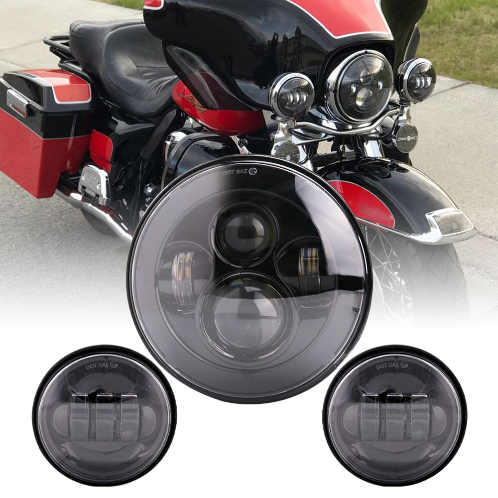 For  Motorcycle Light Electra Glide Softail Fat Boy Touring 7 Inch Motor  LED Headlight With 4.5 Inch Fog Lamps