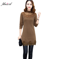 Women Spring Fall T Shirt Ms Half High Collar Large Size Plus Thick Long Sleeves T