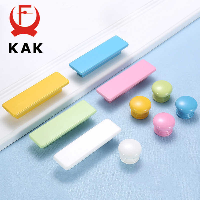 KAK Children Wooden Cabinet Knobs and Handles Kitchen Door Handles Macaron Wardrobe Cupboard Handle Drawer Knobs Furniture Pulls