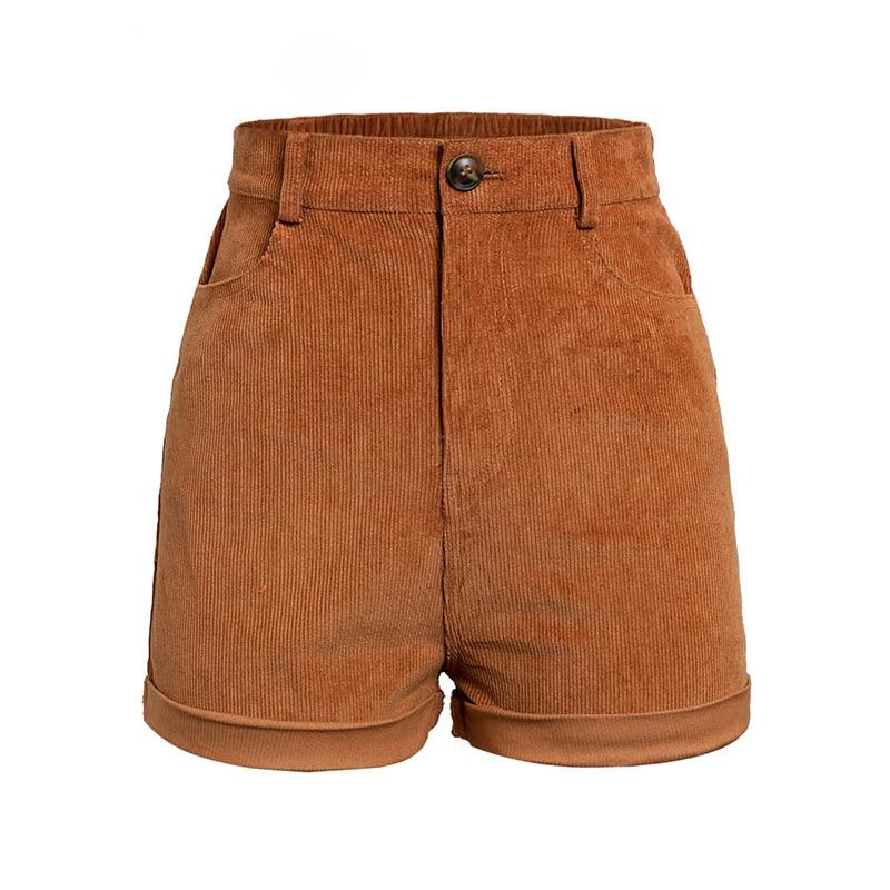 Hot Sale 2019 Fashion Women High Waist Casual Shorts Female Pocket Corduroy Shorts Summer Streetwear Brown Loose Shorts