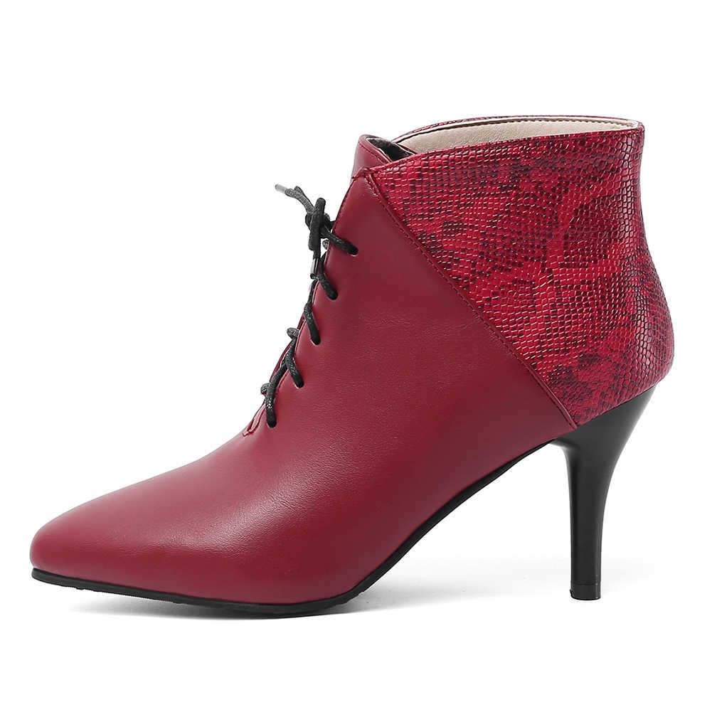 women's 2019 Dropship Big Size 30-48 Elegant Boots Woman Shoes Thin High Heels Shoelaces Ankle Boots Women Shoes Woman
