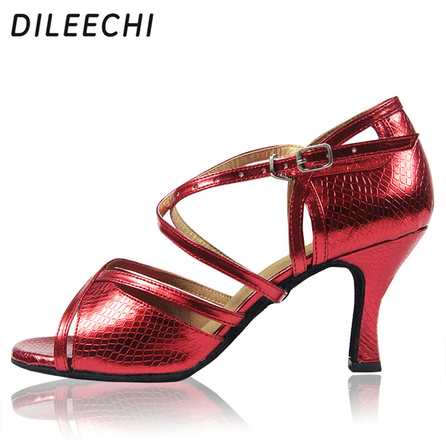 DILEECHI The new Red Serpentine PU Latin dance shoes women s female soft  outsole Ballroom dancing shoes High-heeled 7.5CM ad09367695e9