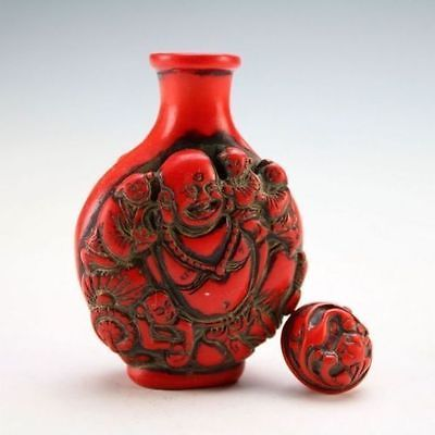 DELICATE CHINESE RED CORAL RESIN CARVED  PEONY/&DRAGON SNUFF BOTTLE