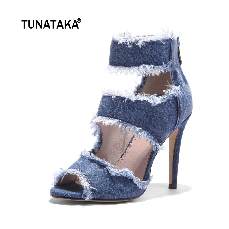 2018 Fashion Blue Denim Thin High Heels Sexy Sandals Zip Party Summer Shoes Women women shoes sexy feather thin heels sandals fashion super high 11cm women sandals party shoes high heels sandalias mujer fashion