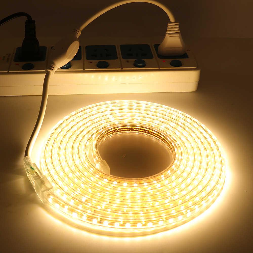 5 м 10 м 15 м 20 м 25 м 30 м SMD светодиодные полосы 3014 220 В водонепроницаемый гибкий светодиодный свет ленты 220 в кухня открытый сад лампа с вилкой ЕС