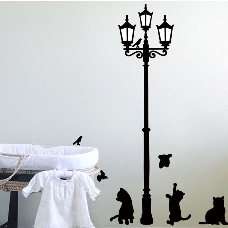 Decoration pillow Home Decoration Cats Street Lamp Lights Stickers Wall Decal Removable Art Vinyl Decor