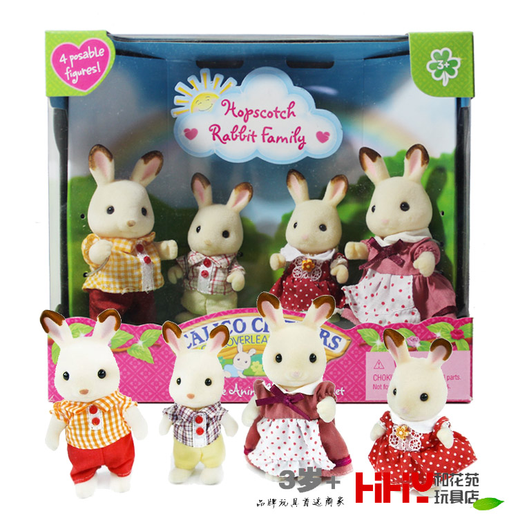 Hopscotch rabbit bunny Family mini size Sylvanian Family Figures Anime Cartoon figures, Toys Child Toys gift 12pcs set children kids toys gift mini figures toys little pet animal cat dog lps action figures