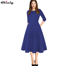 Womens Solid Vintage Round Neck Half Sleeves Work Business Office Casual Party Bodycon A-Line Dress