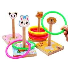 Деревянные игрушки животные метание Кольца Развивающие игрушки для детей Brinquedo развивающие игрушки