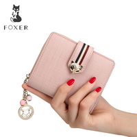 FOXER Brand Women Cow Leather Wallets Famous Designer Coin Purse Girl Fashion High Quality Short Wallet For Female