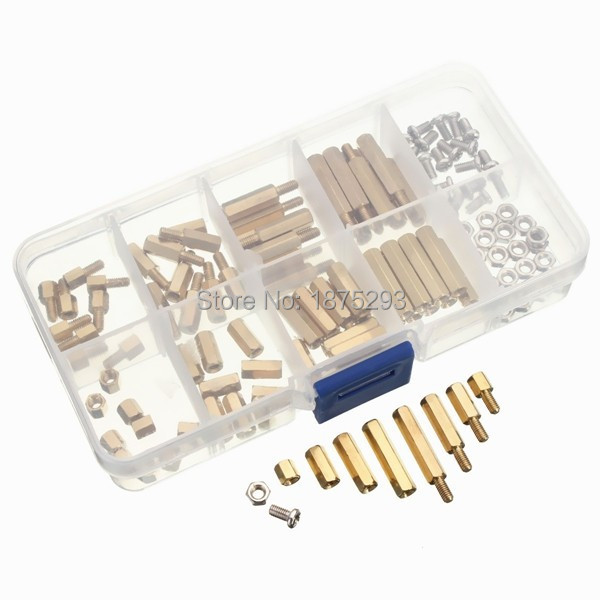120pcs PCB M3 Hex Male Female Threaded Brass Spacer Standoffs Screw Nut Assortment Set m2 3 3 1pcs brass standoff 3mm spacer standard male female brass standoffs metric thread column high quality 1 piece sale