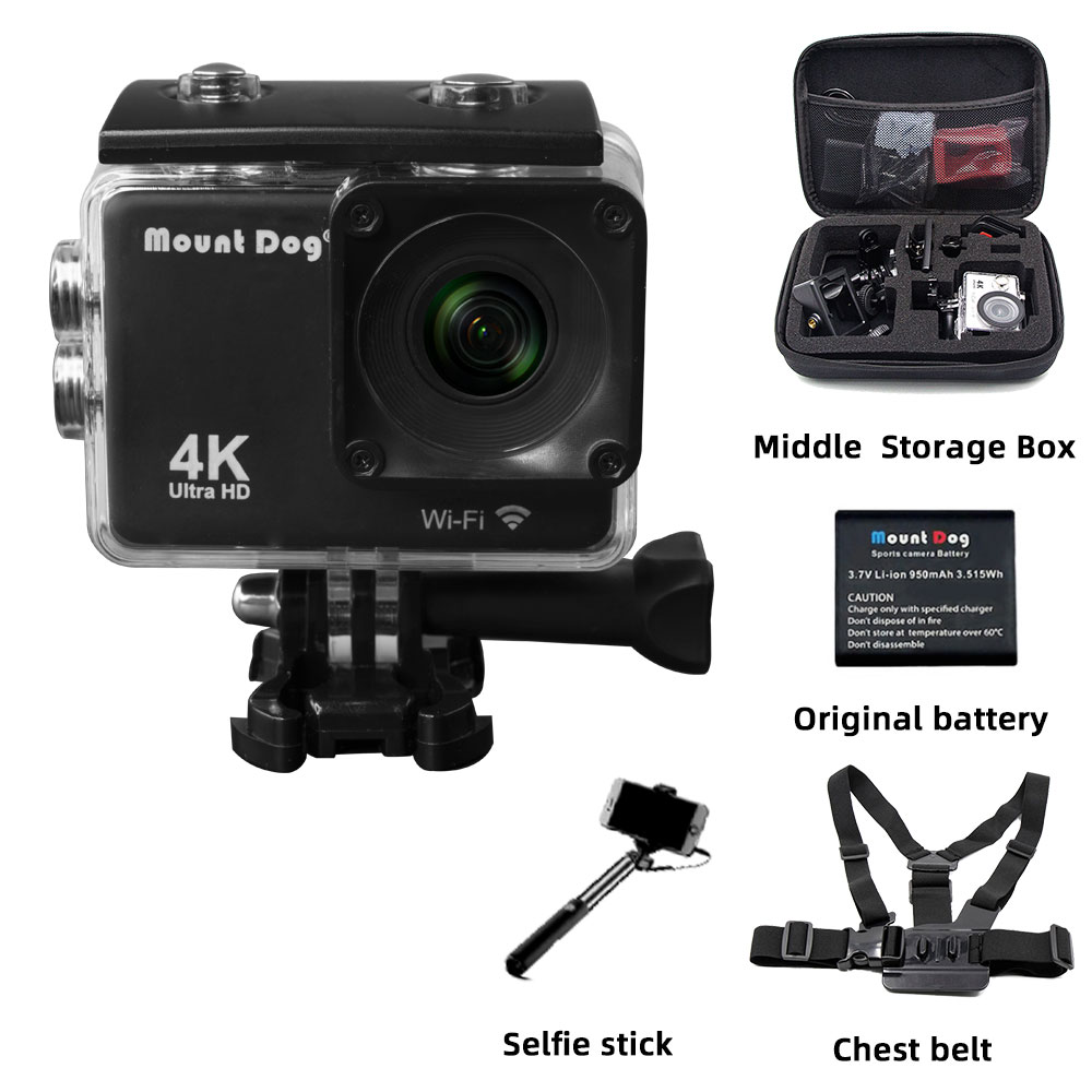 Caméra d'action Sport Ultra HD 4 K Wifi 170D 30fps Go pro accessoires Selfie bâton ceinture de sangle de poitrine pour Sport vidéo Action Cam