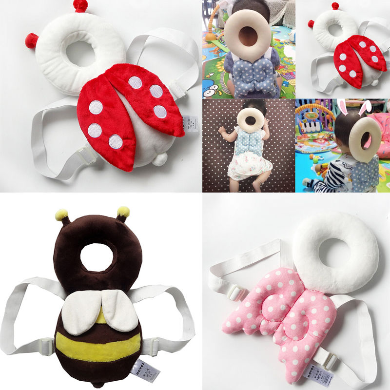 Cute Baby Infant Toddler Stuffed Baby Back Protector Safety Harness Headgear Cartoon Wings Head Protector Guard Pillow