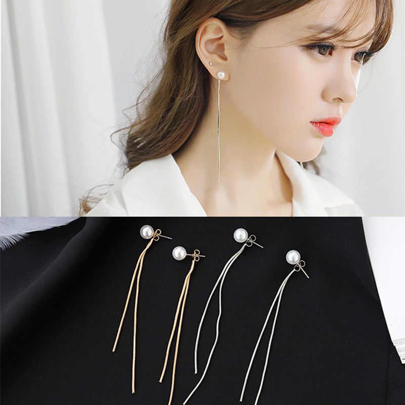 2019 moda coreana elegante mujer pendiente largo CZ perla encanto colgante serpiente cadena borla hembra pendientes