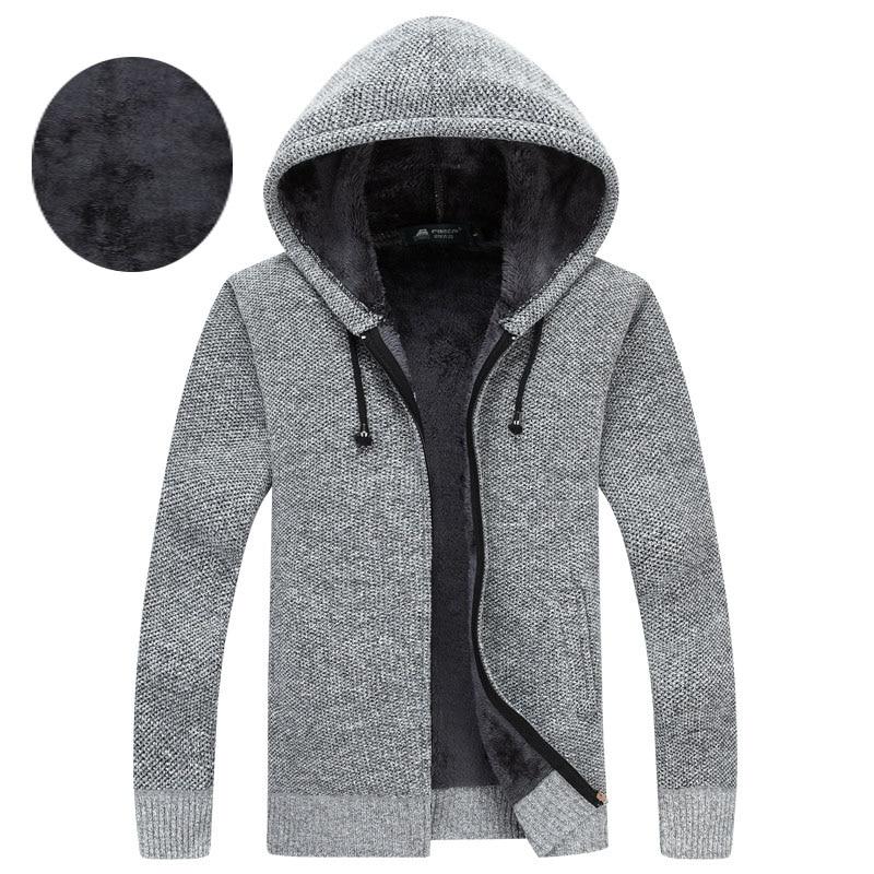 Dress Cardigan Sweatercoat Hooded-Collar Fleece Zipper-Style Winter Men's Fashion Warm