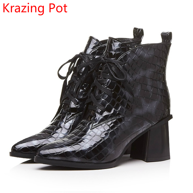 New Arrival Genuine Leather High Quality Large Size Pointed Toe High Heels Fashion Winter Shoes Lace Up Concise Ankle Boots L0f4 new lace up ankle men fashion boots casual high top office dress shoes pointed toe work safety boots genuine leather short shoes