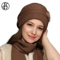 Fashion Winter Skullies Beanies Knit Crochet Cap For Women Warm Scarf And Hat Knitted Hat With