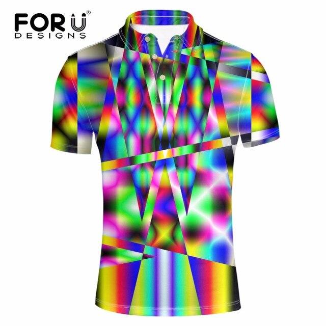 FORUDESIGNS Летом С Коротким рукавом Новинка 3D Многоцветный Polo Shirt for Man Одежда Дышащий Топы Рубашка Camisas Hombre Vestir