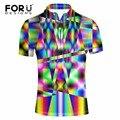 Forudesigns verano novedad 3d multicolor camisa de polo de manga corta para hombre ropa transpirable tops camisa camisas hombre vestir