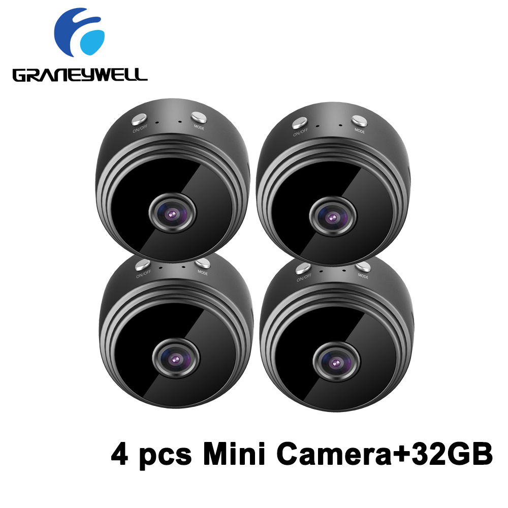 4 PCS/LOT Graneywell A9 Mini Wifi Camera 1080P IP Camera Indoor Home Security Camera Built-in Battery Surveillance Video Camera4 PCS/LOT Graneywell A9 Mini Wifi Camera 1080P IP Camera Indoor Home Security Camera Built-in Battery Surveillance Video Camera