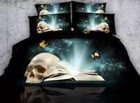 3d crâne imprimé linge de lit motif papillon housse de couette double reine complète 3/4 pièces enfants enfants chambre décor vert lit couverture ensemble