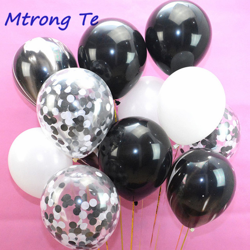 10pcs 12Inch Confetti Balloon white Black Latex Balloon Holiday Party Wedding Decorations Air Glbos Kid Birthday Party Supplies