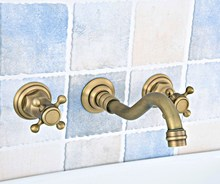 Antique Brass Widespread Wall-Mounted Tub 3 Holes Dual Cross Handles Kitchen Bathroom Tub Sink Basin Faucet Mixer Tap asf527 bathroom tub faucet dual cross handles with hand held sprayer antique brass