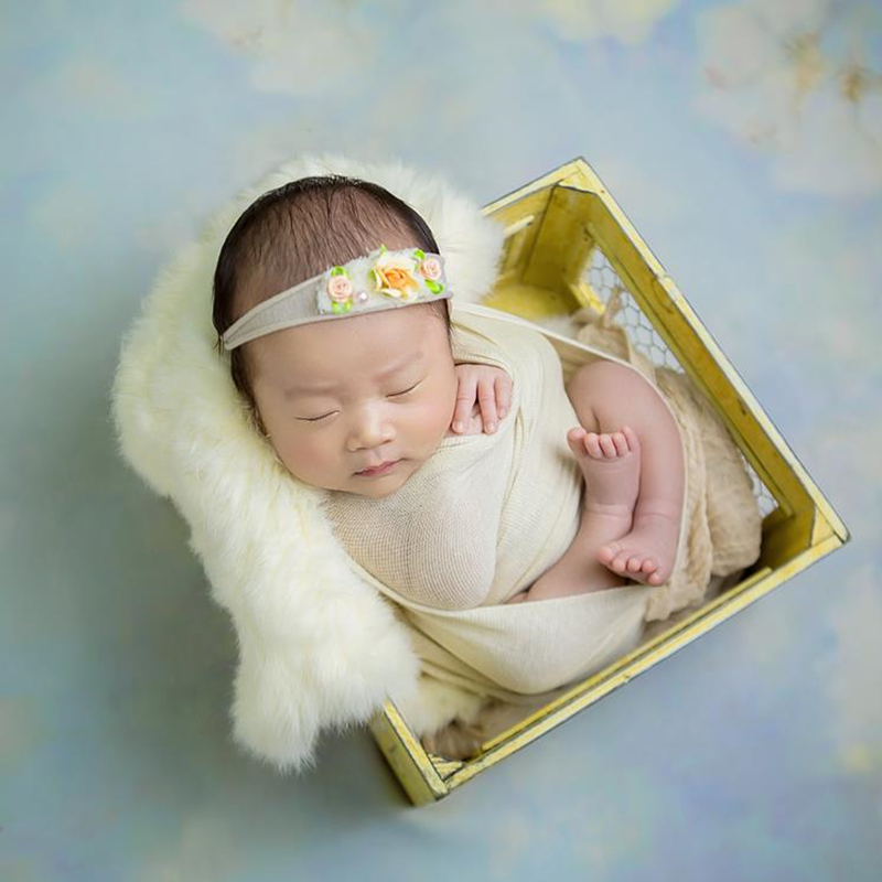 Newborn Baby Stretch Knit Wrap Baby Jersey Wrap And Headband Set Swaddle Blanket Photography Props Newborn Photo Props