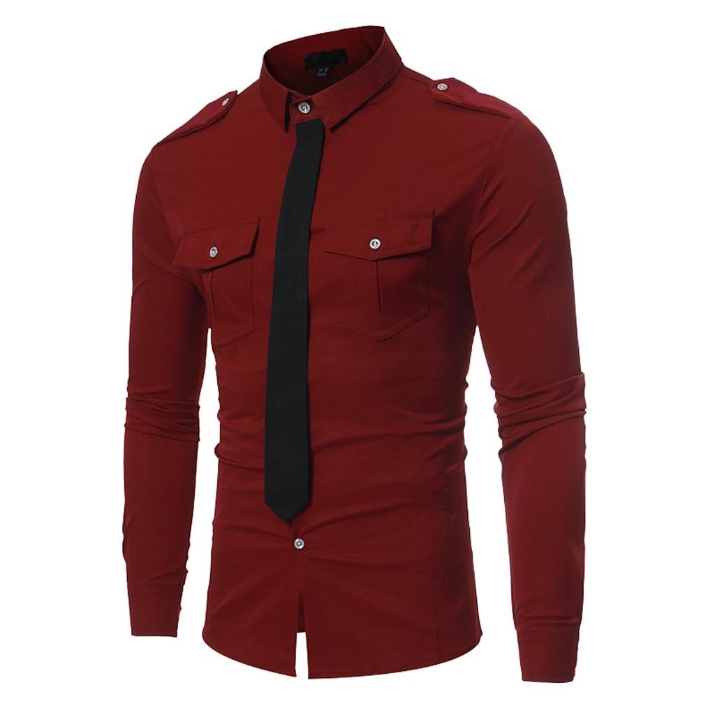 2019 Frühling Formalen Shirt Männer Langarm Gefälschte Krawatte Einfarbig Shirt Männer Slim Chemise Homme Sozialen Kleid Bluse Tops Shirts