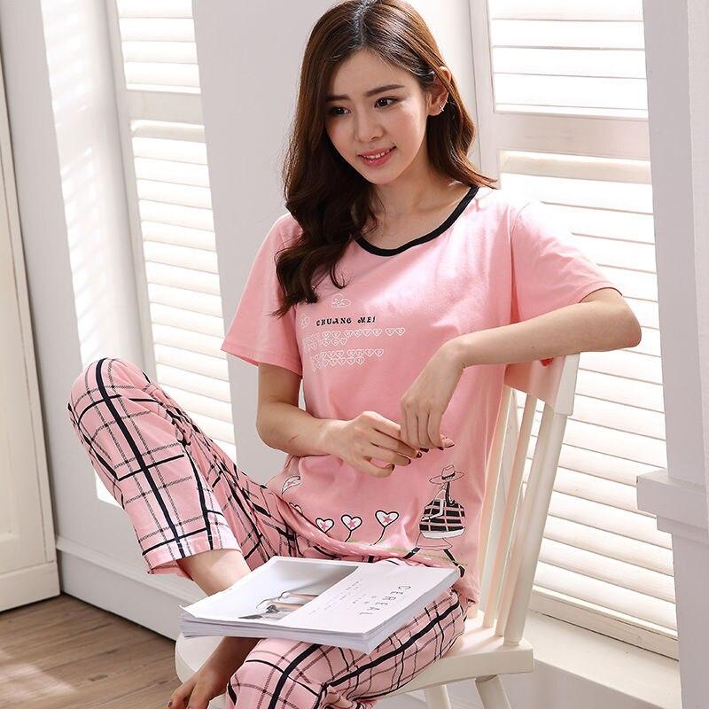 2020 New Girl Short Sleeved Pajamas Autumn Women Nightwear Ladies Sleepwear Suit Cartoon Lovely Suit Student Cute Home Clothes