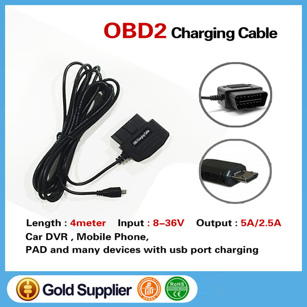 New OBD2 to USB Micro Connector OBD 2 16pin OBDII Car Charging Charger Convert USB Cable For Phone DVR Digital Video Camera GPS