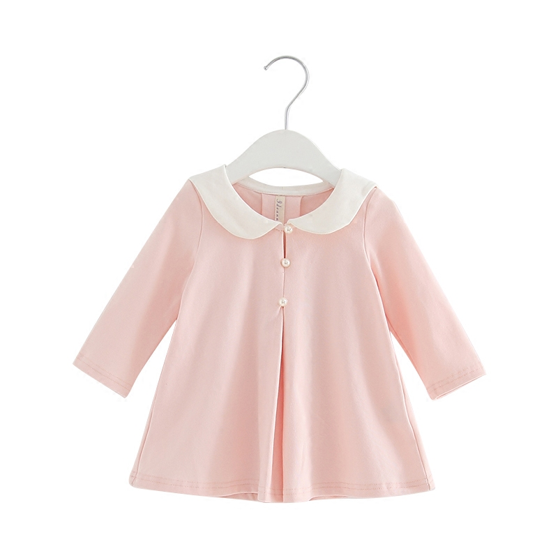 2018 Pearls Autumn A-line Kids clothes Girls long-sleeved Girls baby dress kids clothing dress children's dress 0-2T 3 Color girls grid a line flared dress