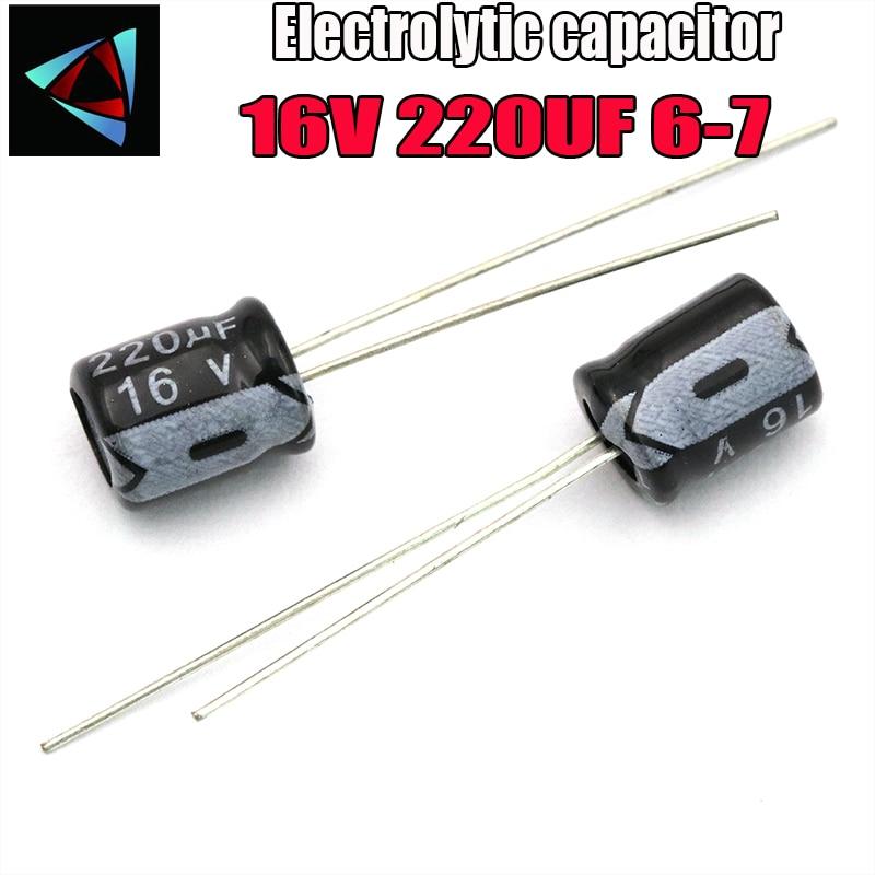 28PCS Higt Quality 16V 220UF 6*7mm 220UF 16V 6*7 Electrolytic Capacitor