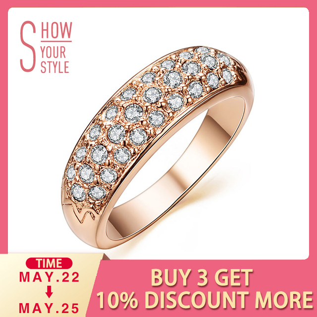UMODE Classic anillos mujer bague aros Rose Gold Color Rhinestones Studded Finger Rings JR0084A