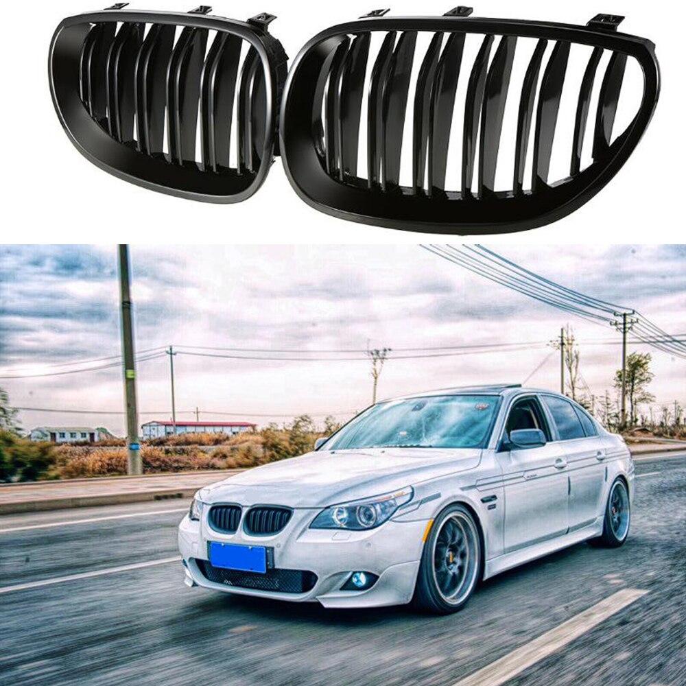 Gril de capot de grilles de sport de rein noir brillant avant pour BMW E60 E61 2003, 2004, 2005, 2006, 2007, 2008, 2009 M5 525i 528i 528xi