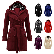 Women s Military Button Hooded Fleece Belted Jacket