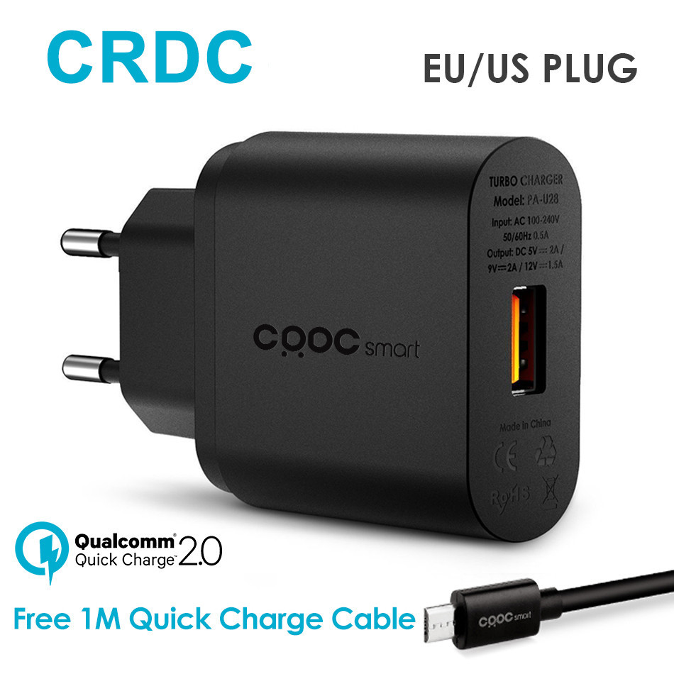 CRDC Quick Charger 2.0 18W Fast Portable Mobile Phone Charge