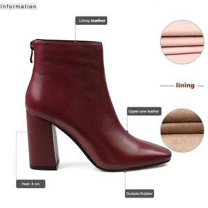 Image 3 - ISNOM en cuir véritable bottines 2020 bout carré bottes en caoutchouc équitation chaussures pour femmes dames gros talon haut fermeture éclair bottes dhiver