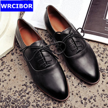 2017 Spring and Autumn Genuine leather Women's Oxfords pointed toe Fashion Oxfords Women Flat Heel Shoes Casual Women Shoes