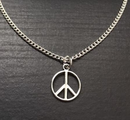 404e82e07 خمر الفضة علامة السلام قلادة المعلقات سحر بيان سلسلة قلادة للنساء مجوهرات  اكسسوارات diy 10 قطع b13