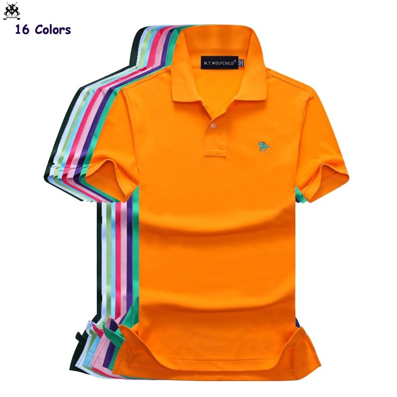 16 Colors Top quality Summer mens short sleeve small horse   polos   shirts cotton casual mens lapel   polos   fashion slim mens tops
