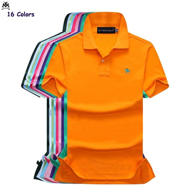 b668ef0c6780 16 Colors Top quality Summer mens short sleeve small horse polos shirts  cotton casual mens lapel polos fashion slim mens tops