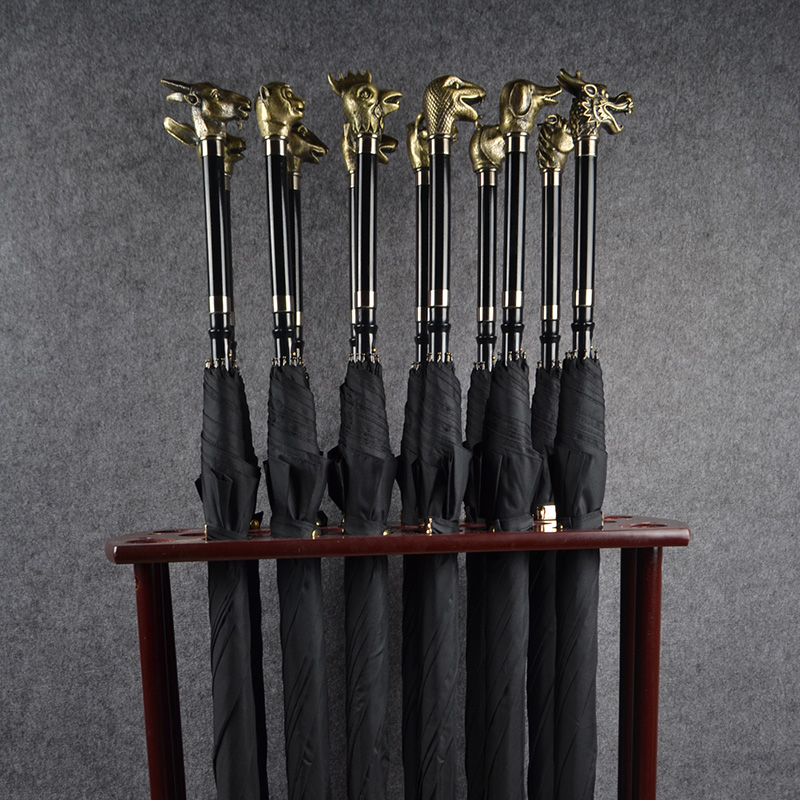 Bronze Zodiac Black Long Sword Umbrella Business Men's Office Multifunction Home Furnishing Metal Exquisite Crafts Gift Souvenir