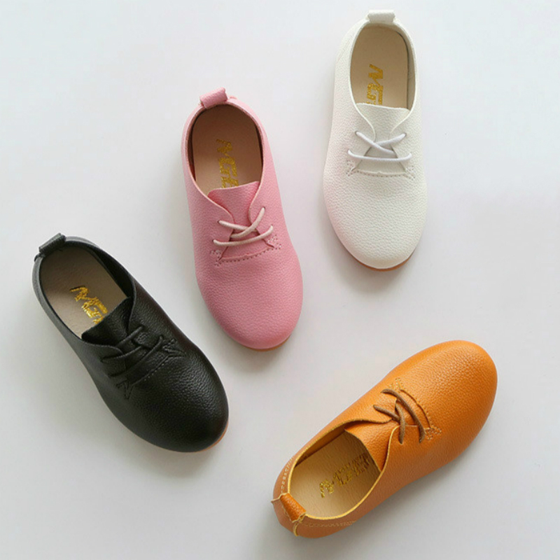 Kids Shoes Hot New Spring And Autumn Children Leather Shoes Boys And Girls Causal Shoes Student Dancing Shoes Candy Colors 21~36