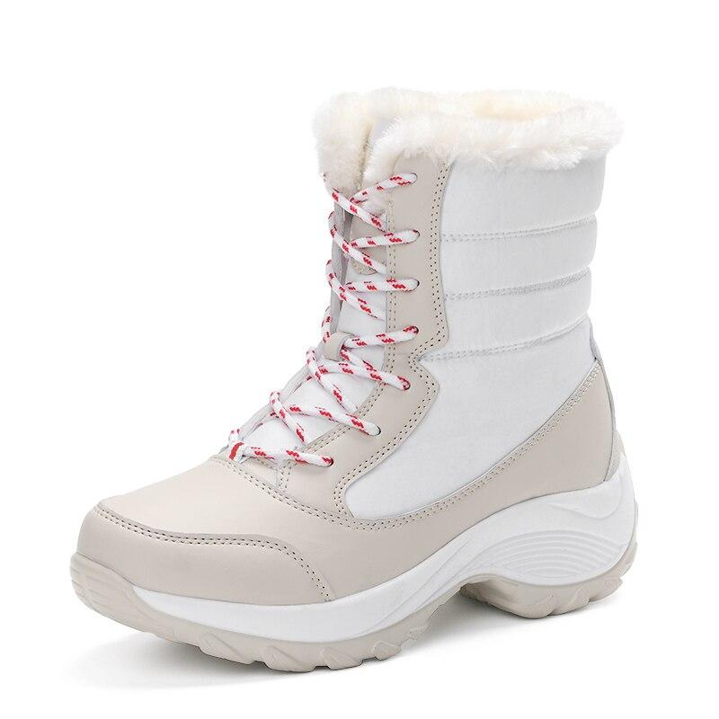 rojo Invierno Cordones 35 Botas De Moda Tamaño Cálido 2017 Las Mujer Impermeables Tobillo blanco azul Zapatos Femeninos Mujeres Nuevo Otoño Negro 41 Gruesas 4xw151Aq