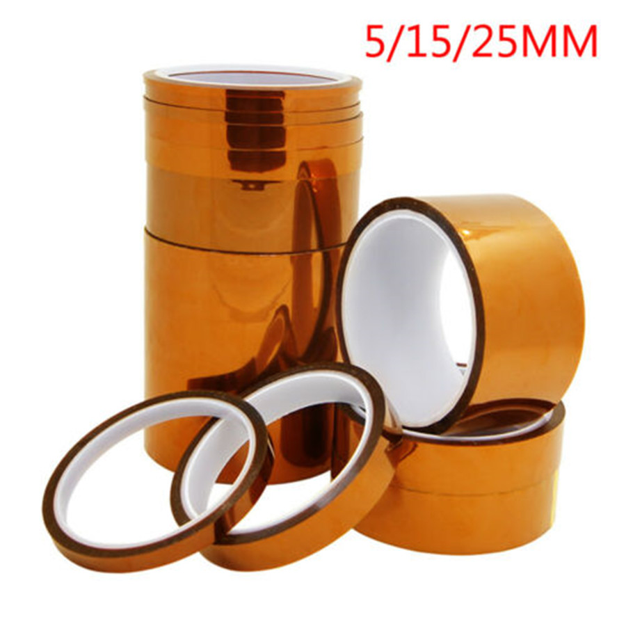 5/15/25mm 33m 100ft Kapton Adhesive Tape BGA High Temperature Heat Resistant Polyimide Gold For Electronic Industry