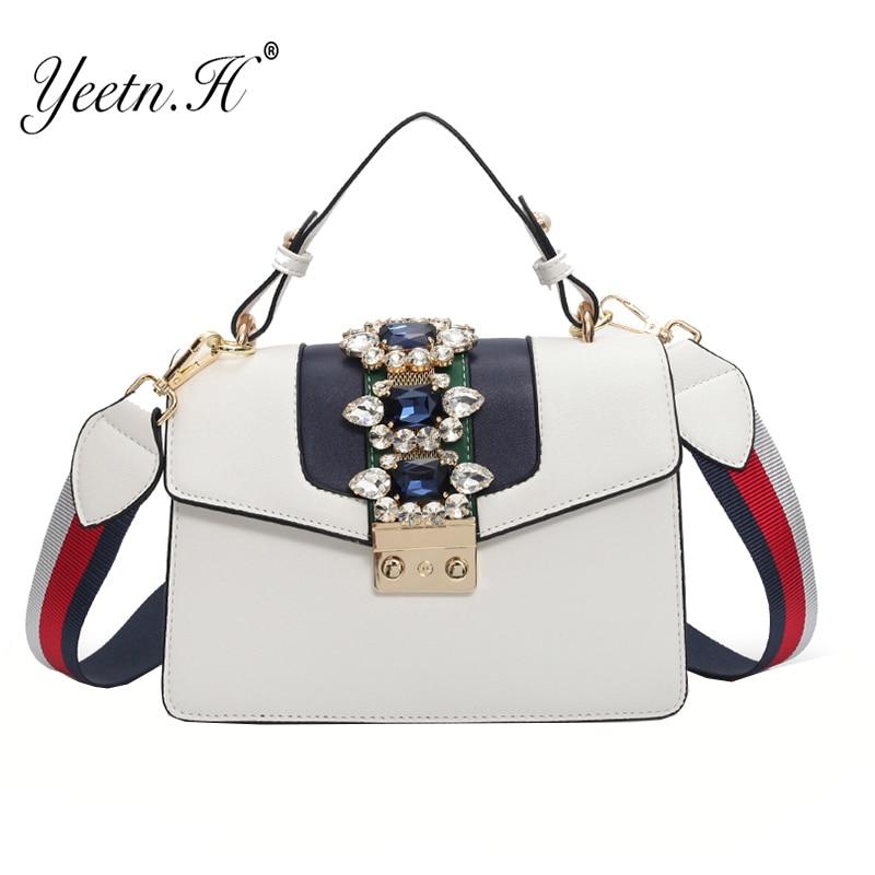 Yeetn.H Luxury spring Diamond Gem Women Leather Handbag Colorful Strap Shoulder Bags Famous Designer Handbag Big Totes Y4343