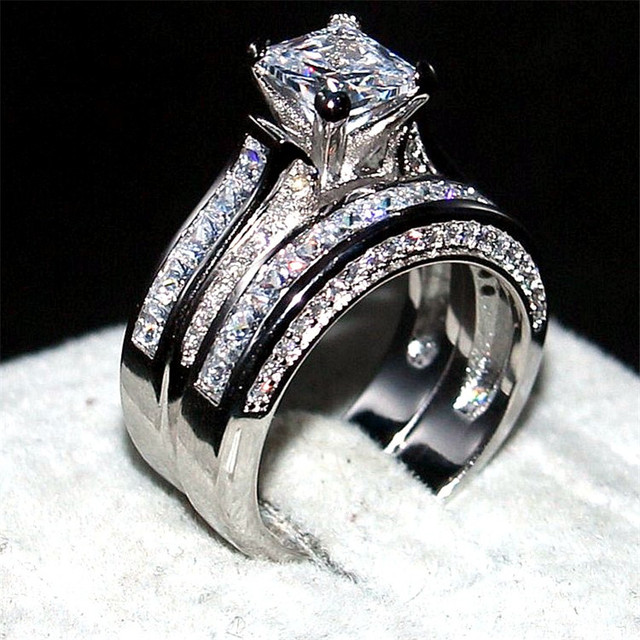 Choucong Jewelry Luxury 925 Sterling Silver Wedding Band Rings Finger For Women 77mm Princess