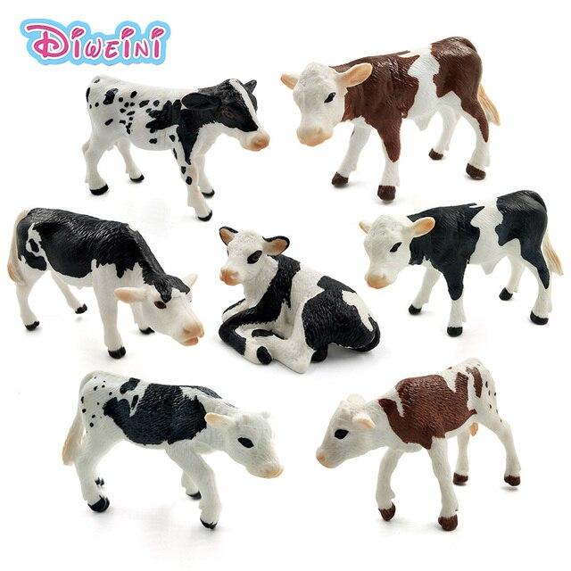 Aves da fazenda Simulação Kawaii mini Vaca de leite de Gado Bezerro estatueta figuras de brinquedo de plástico modelo animal Presente decoração de casa Para crianças